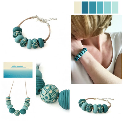 Teal Blue Necklace & Bracelet by Lottie Of London Jewellery