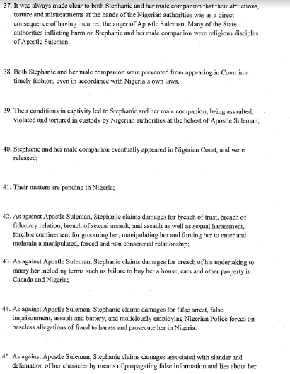 2b - Stephanie Otobo files $5m lawsuit against Apostle Suleman in Canada ,see the court papers