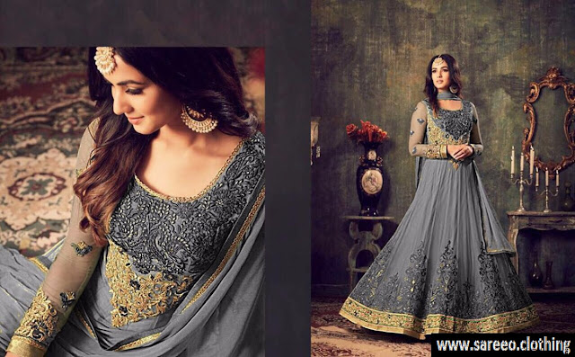 Grey Color Heavy Embroidery Net Anarkali Salwar Suit, Heavy Embroidery Net Anarkali Salwar Suit, Grey Heavy Embroidery Net Anarkali Salwar Suit