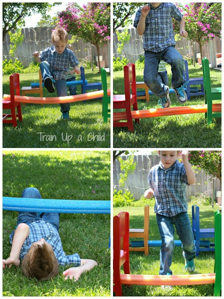 Pool Noodle Backyard Obstacle Course ~ Learn Play Imagine