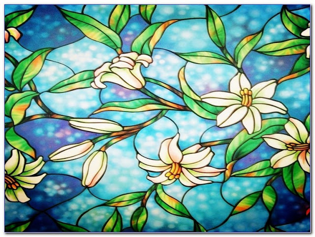 Faux Stained GLASS WINDOW Film Home Depot for sale