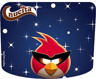 Etiqueta Nucita para Imprimir Gratis de Angry Birds en el Espacio.