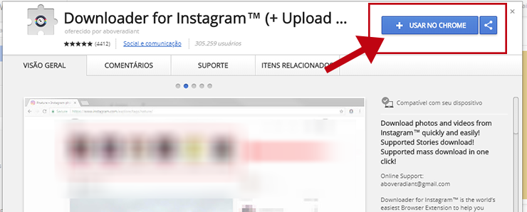 Downloader for Instagram na Chrome Store