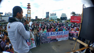 Peduli Ahlus Sunnah Suriah, Ratusan Santri di Lampung Galang Dana di Tugu Adipura