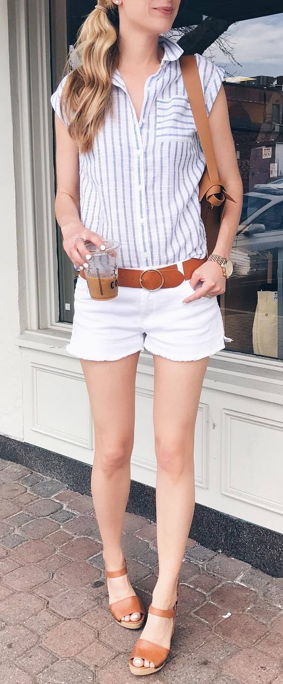 summer casual style addict: shirt + bag + shorts
