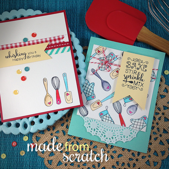 Cooking/Baking Birthday Cards by Jennifer Jackson | Made from Scratch Stamp Set by Newton's Nook Designs #newtonsnook