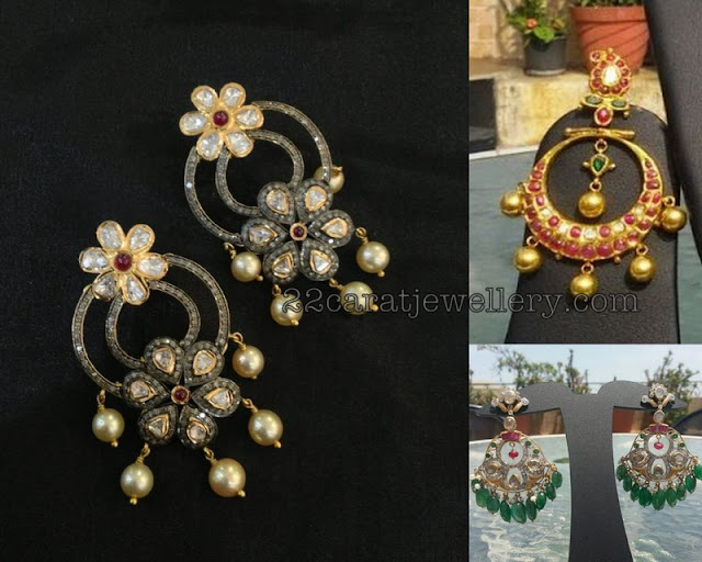 Chandbalis with Pearls and Emerald Drops