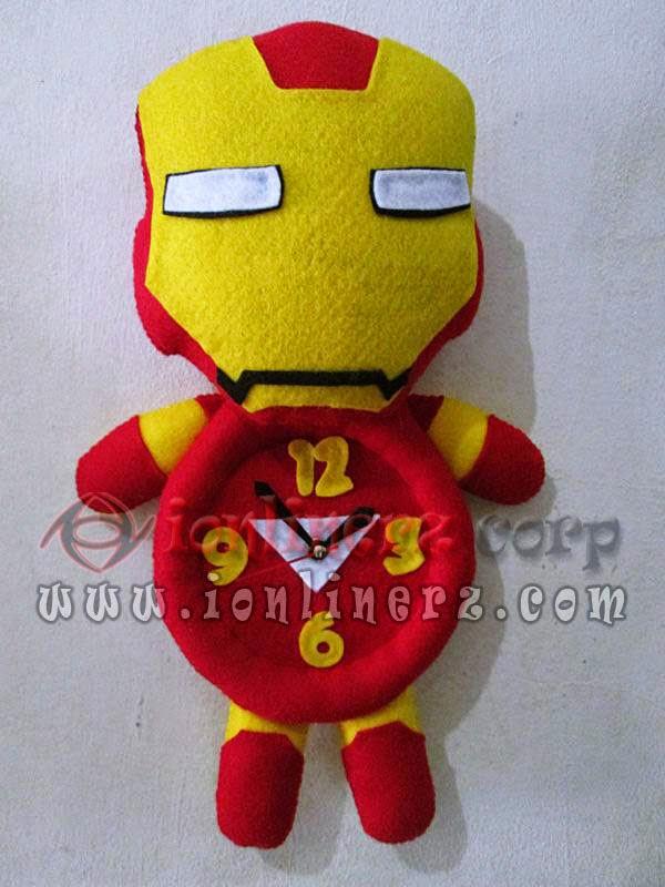 Jam Dinding Flanel Karakter Kartun Boneka Iron Man