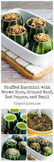 Stuffed Zucchini with Brown Rice, Ground Beef, Red Pepper, and Basil, with Variations (Gluten-Free) [from KalynsKitchen.com]