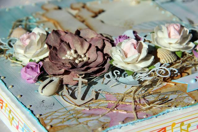 kartka składak, kartka ślubna, komplet ślubny, zaproszenia na ślub, morski ślub, handmade, rękodzieło, na zamówienie, kartka ze zdjęciem, Rafa Koralowa inspiracje, Magiczna Kartka inspiracje, pudełko na kartki, kartka warstwowa,