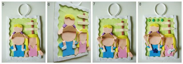 Aqui vemos los ultimos pasos para hacer el cartel con fofuchos familiares en goma eva