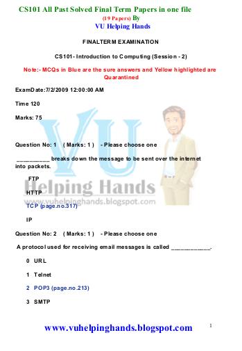 solved final term paper cs101