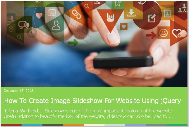 How To Create jQuery Featured Content Slider Slideshow For Website