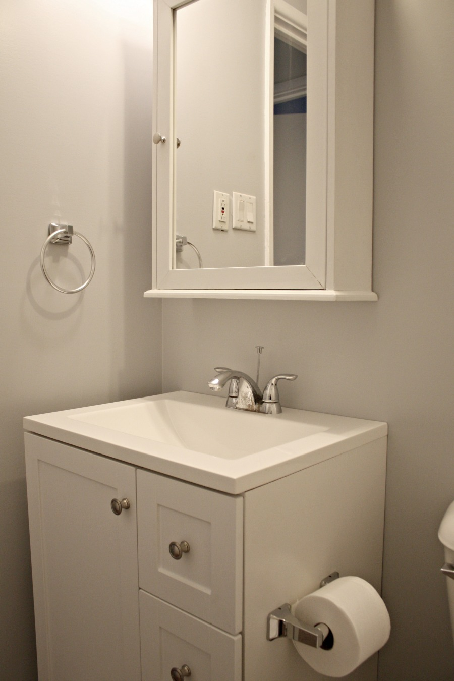 Vanity and sink after