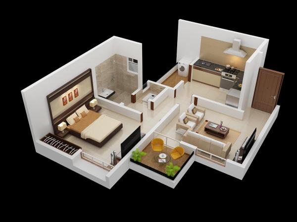 20 Desain Rumah Apartemen Dengan Satu Kamar Tidur