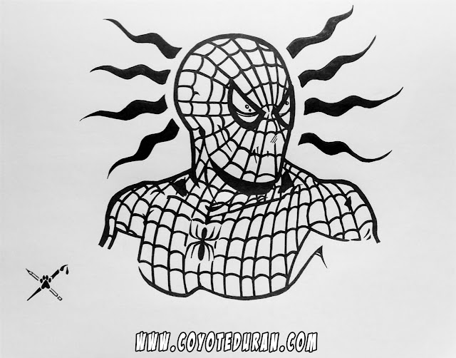 Spider-Man, ink in sketchbook