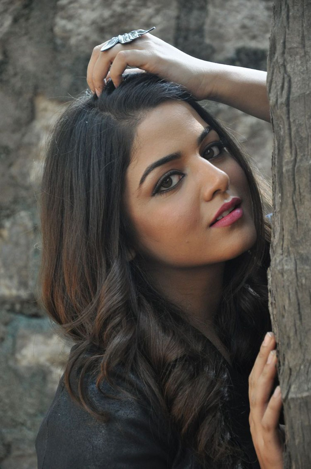 Glamours Actress Wamiqa Gabbi Hot Stills In Black Top Jeans