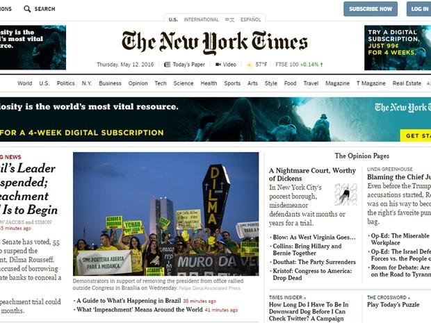 Imprensa internacional destaca  afastamento de Dilma Rousseff