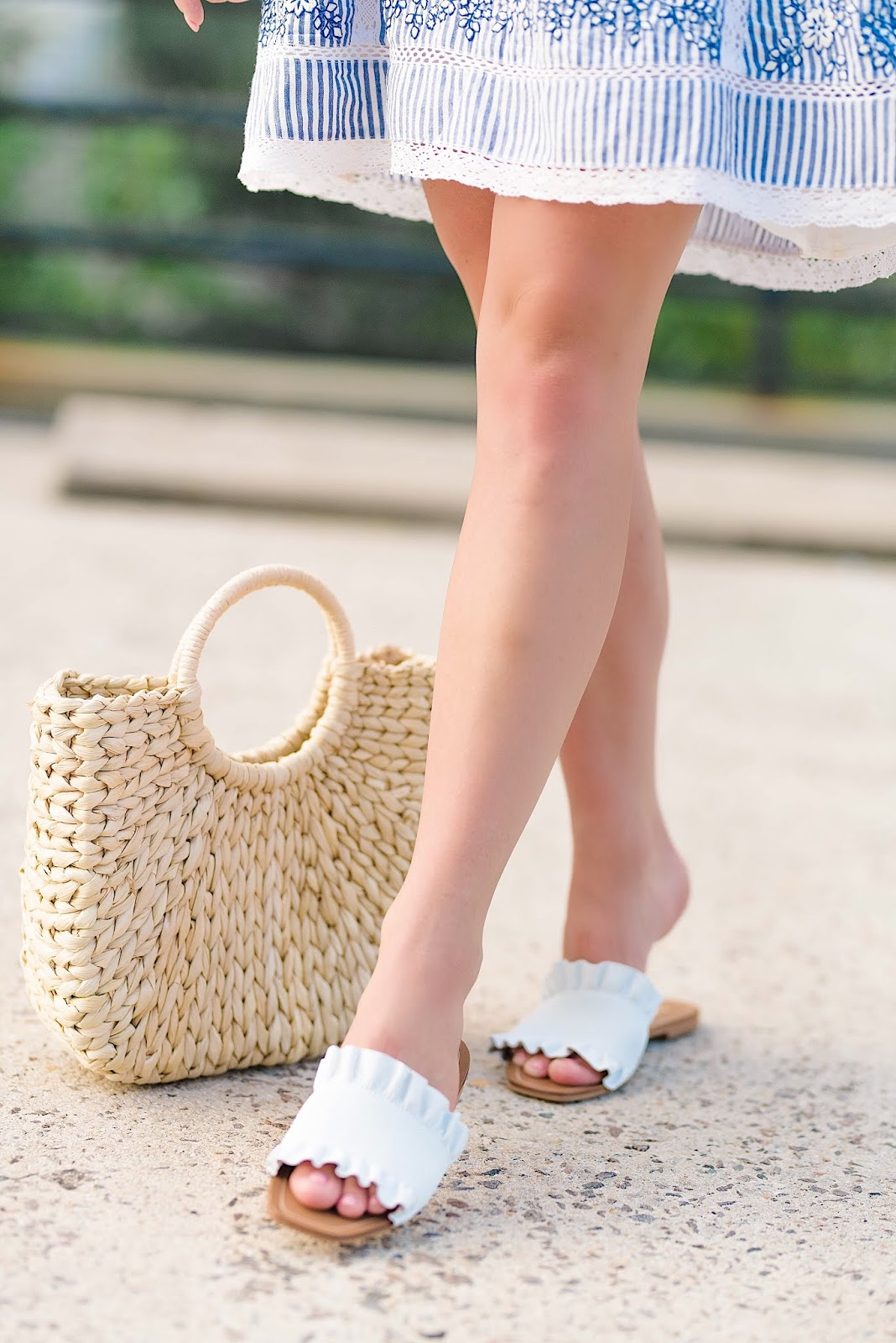 White Ruffle Slides 40% off - Something Delightful Blog