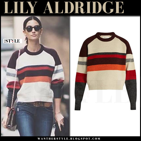 Lily Aldridge in striped knit sweater isabel marant dinky verbier and jeans what she wore