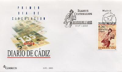 Sobre PDC del sello del 2003 dedicado al diario centenario de Cádiz