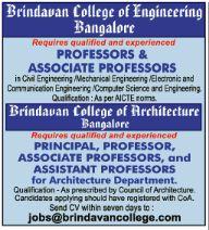 brindavan college of engineering wanted professor