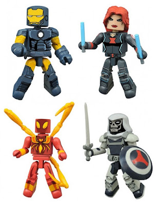"Walgreen's Exclusive Marvel Animated Universe Minimates Series 2 - Avengers Assemble ""Dark Avengers"" Iron Man with Black Widow & Ultimate Spider-Man Iron Spider-Man with Taskmaster"