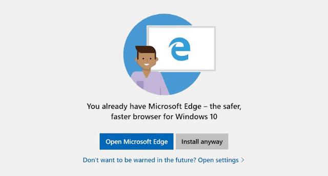 Pop Up untuk Menggunakan Microsoft Edge