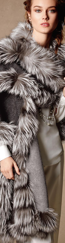 Belle Fare Cashmere Reversible Fox Fur-Trim Cape