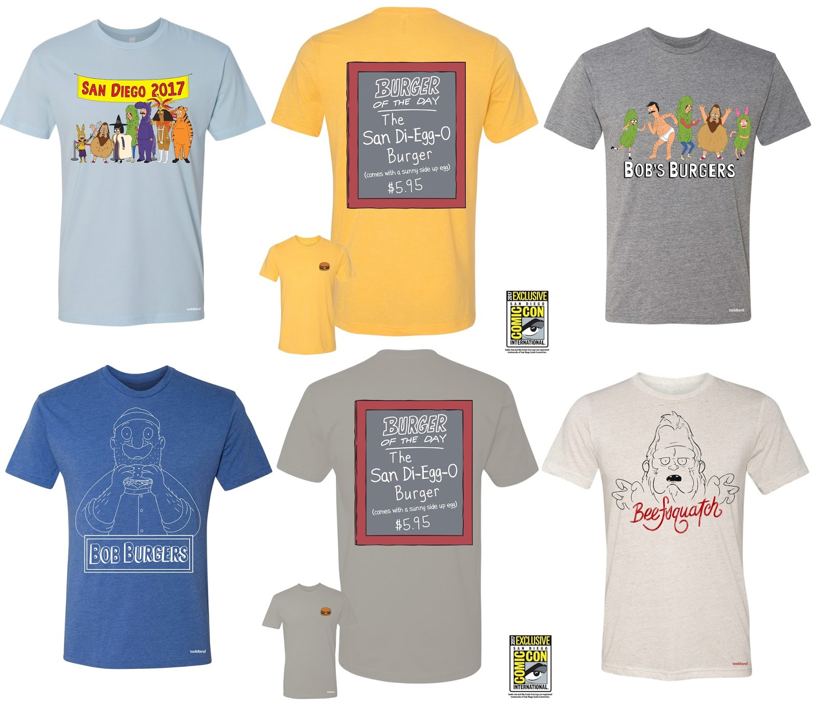 57ad12c99 San Diego Comic-Con 2017 Exclusive Bob's Burgers T-Shirt Collection by  Toddland