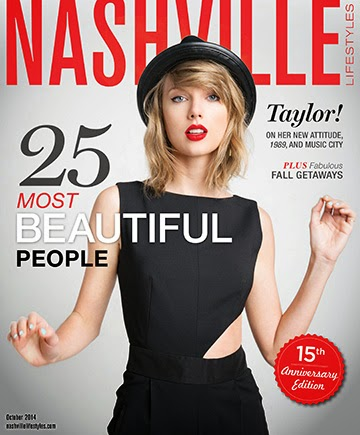 Taylor Swift is the cover star of Nashville Lifestyles Magazine October 2014