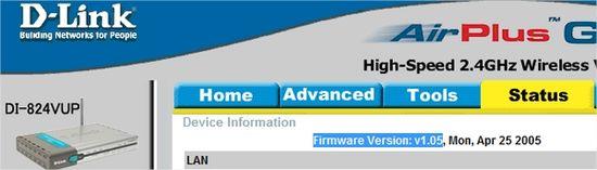 Versão do firmware do modem.