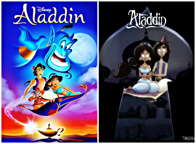 Illustrator Andrew Tarusov redesigns  Disney's classic movie character  Aladdin  into Tim Burton's dark gothic style via geniushowto.blogspot.com Illustrations 3