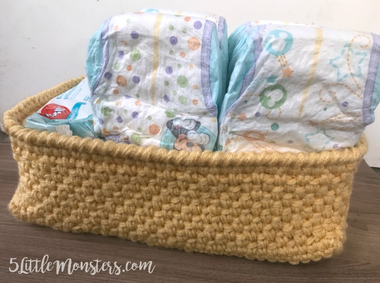 rectangular crocheted storage basket perfect for diapers