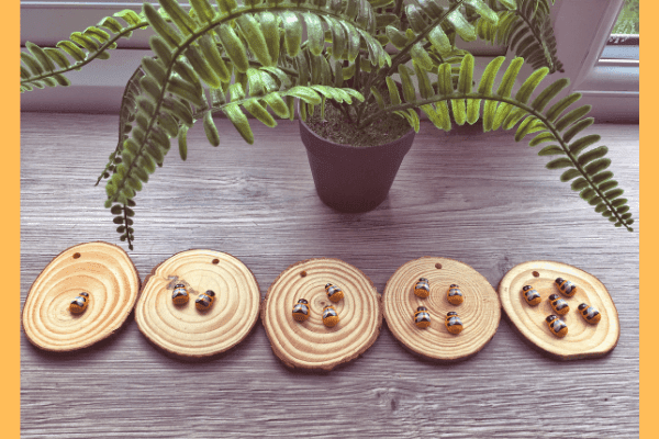 counting bees - wooden slices with mini wooden bees stuck on for number ordering