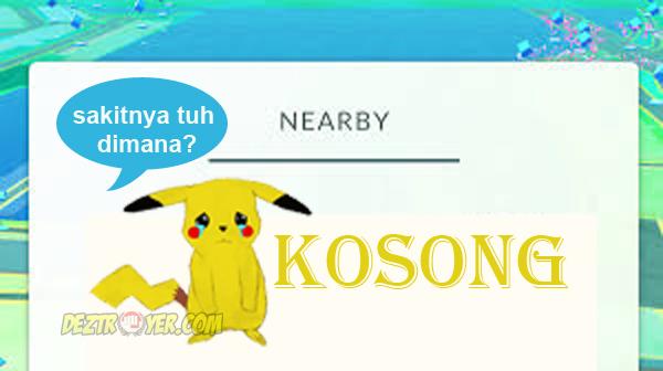 Masalah fitur nearby kosong pada game pokemon GO