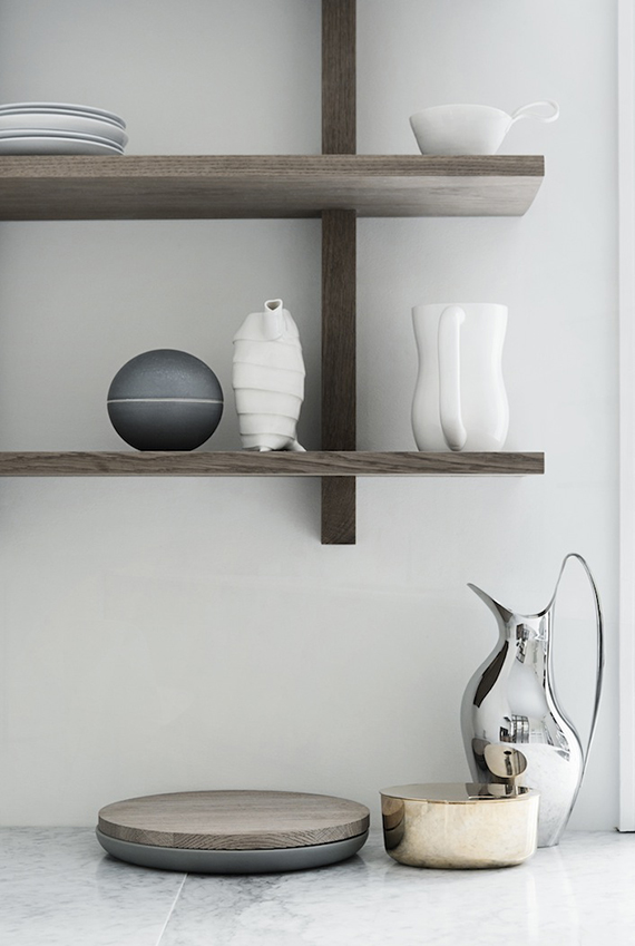 Open kitchen shelves via Heidi Lerkenfeldt