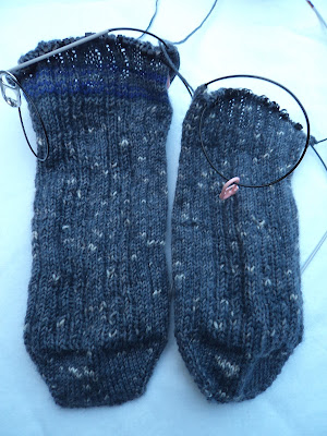 Two half knit socks