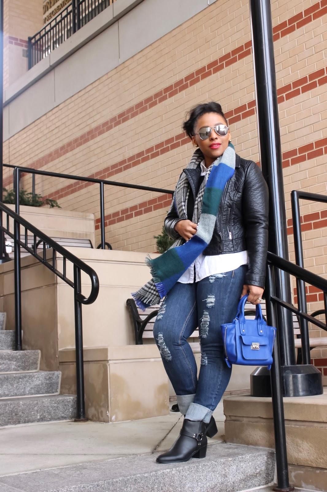 winter outfits, blogger collaboration, plaid scarf, winter outfit ideas