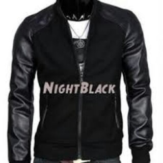 Jaket Semi kulit Ariel Night Black (Baseball) KOMBINASI bbec9be921