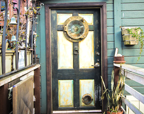 porthole window idea for the front door