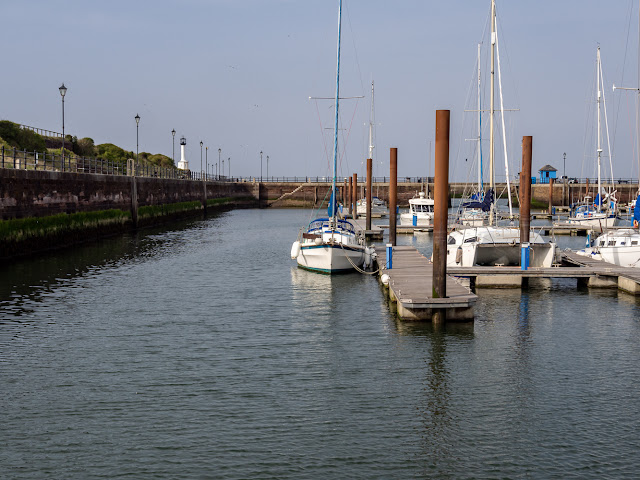 Photo of blue sky and wall-to-wall sunshine at Maryport Marina on Tuesday