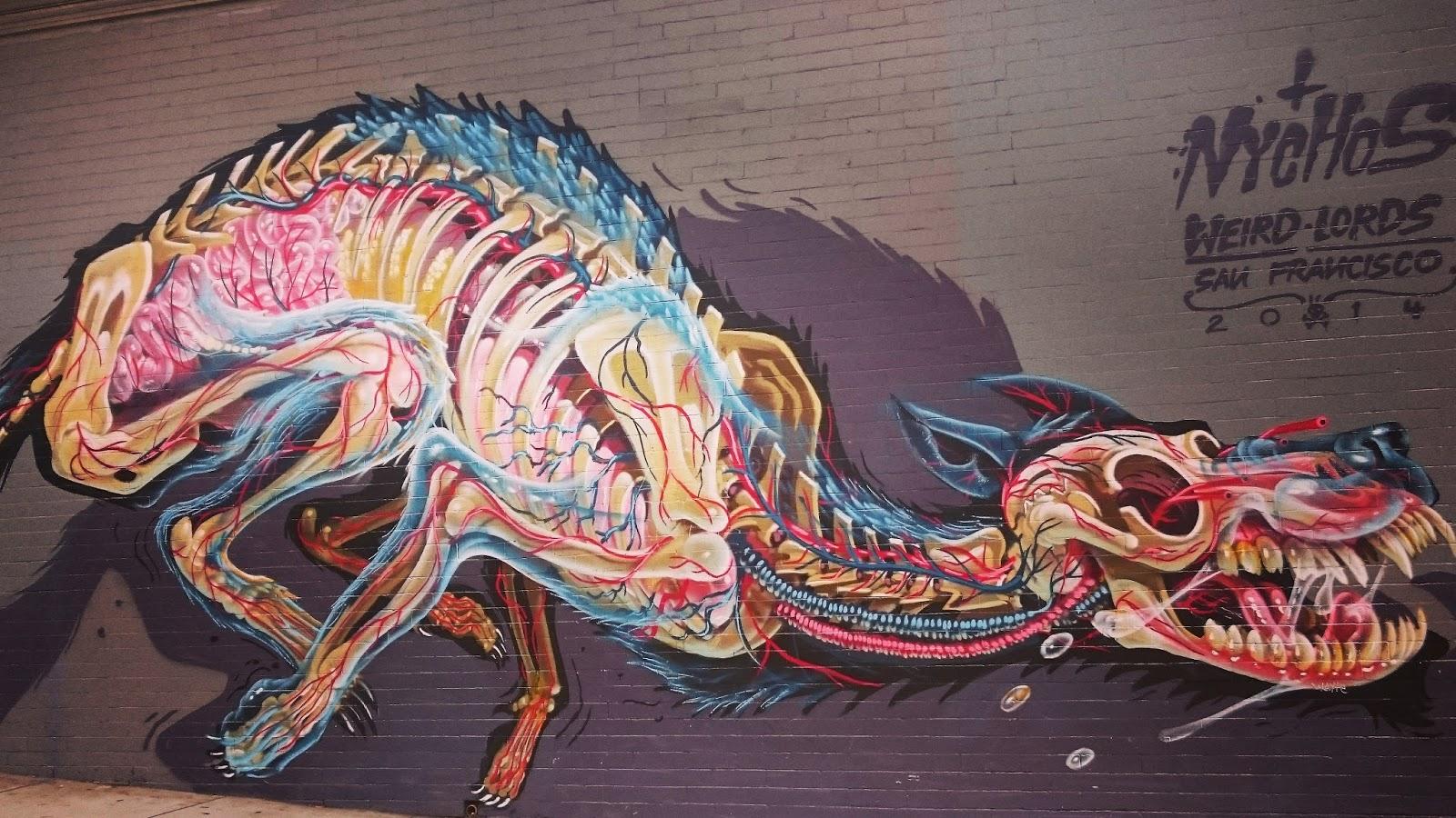 Colourful Dog skeleton graffiti art Haight Ashbury San Francisco