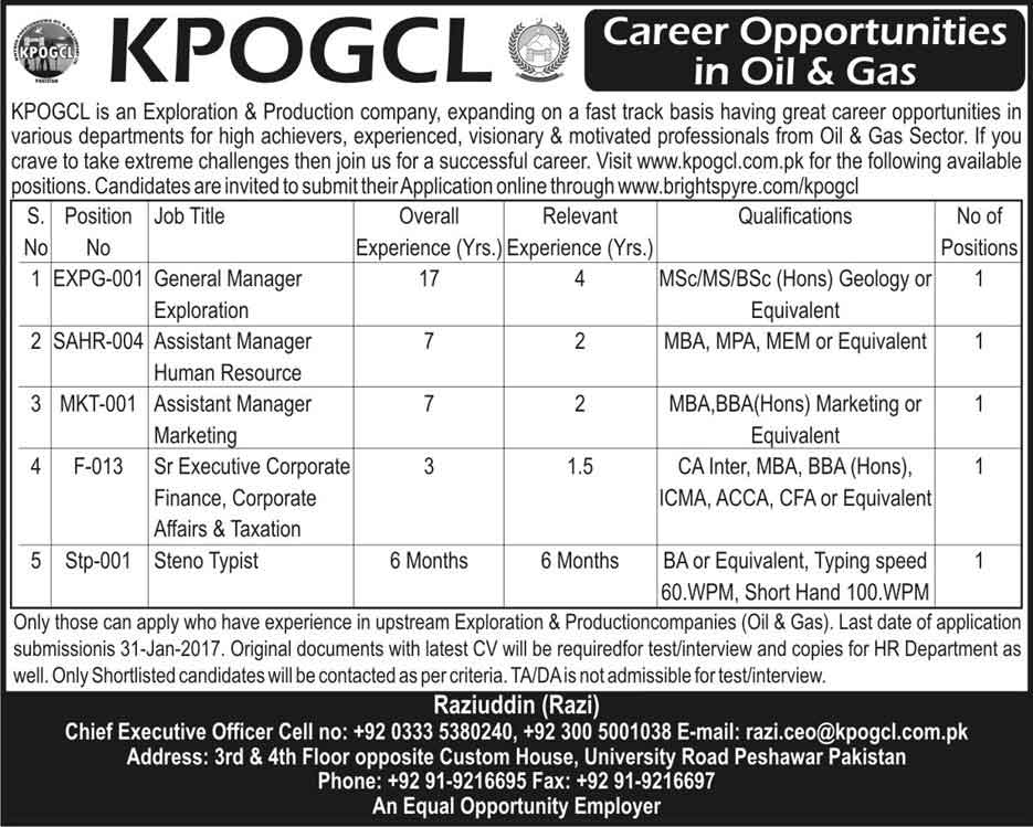 KPOGCL Khyber Pakhtunkhwa Oil and Gas Company Peshawer Jobs