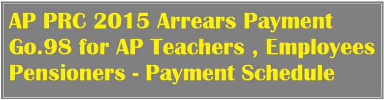 AP PRC 2015 Arrears Payment Go.98 for AP Teachers , Employees ,Pensioners - Payment Schedule