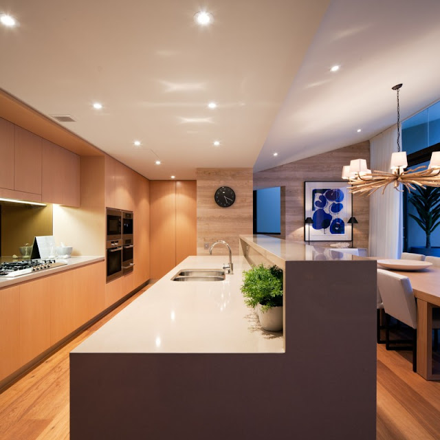 Photo of modern kitchen island in the kitchen