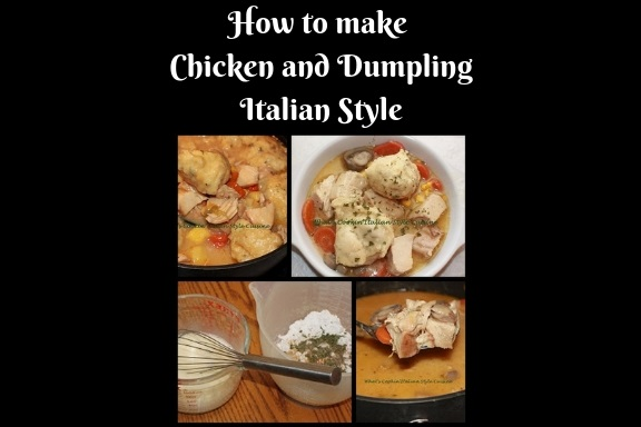 how to make chicken and dumplings  chicken and dumplings with vegetables in a white plate swimming in a delicious broth dumpling sauce with herbs and spices, corn, carrots, loaded chicken and puffed up dumplings on top