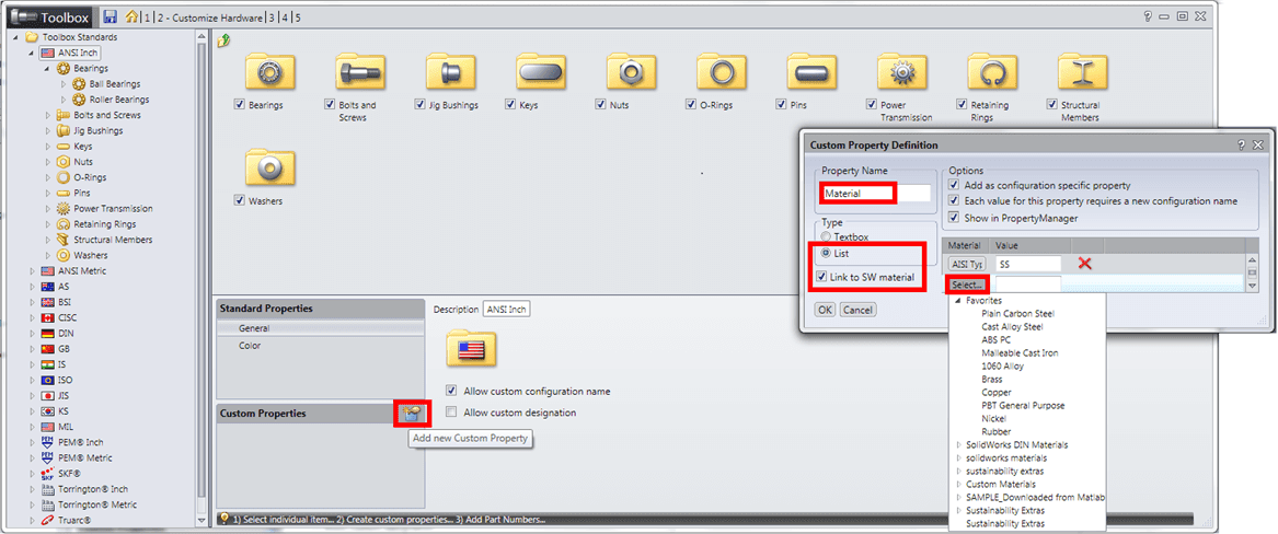 Linking Toolbox Custom Property to SOLIDWORKS Materials