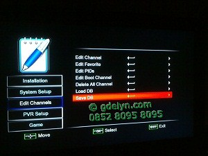 Tampilan menu Edit Channels dan Save DB Openbox X5,receiver mpeg4,receiver hd