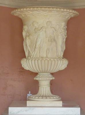 Coade stone Borghese Vase in Temple of Flora, Stourhead
